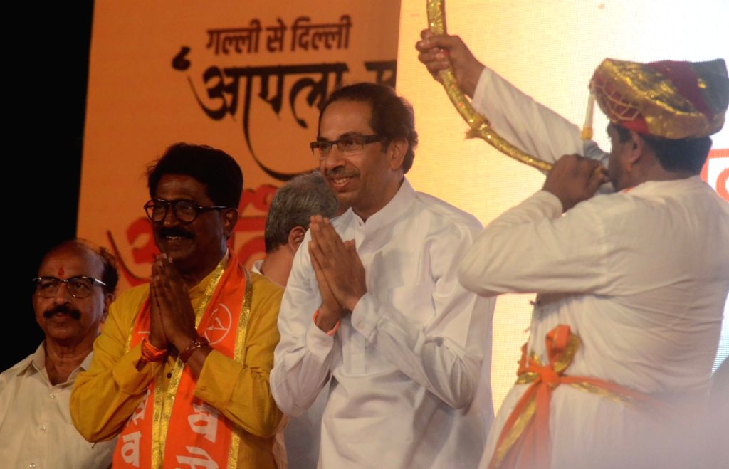Shiv Sena chief Uddhav Thackeray campaigns for party's candidate from South Mumbai Constituency Arvind Sawant during an election rally ahead of the Lok Sabha elections in Mumbai, on April 9, ...
