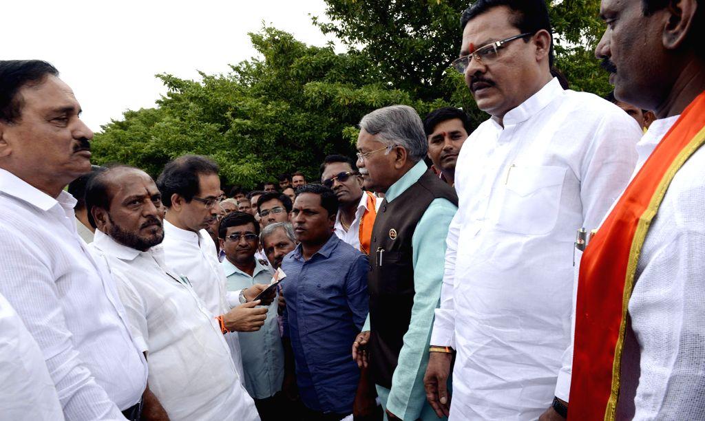 Shiv Sena chief Uddhav Thackeray meets farmers in Aurangabad, Maharashtra on June 26, 2017.