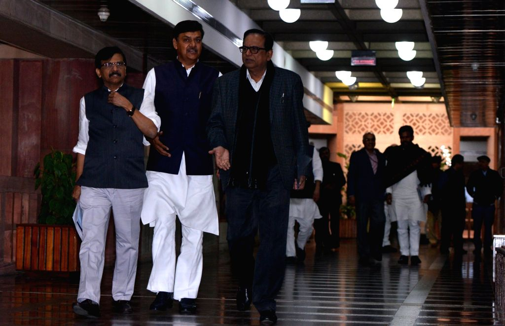 Shiv Sena leader Sanjay Raut and BSP leader Satish Chandra Mishra depart after the all party meeting on the Pulwama terror attack at Parliament House, in New Delhi, on Feb. 16, 2019. - Satish Chandra Mishra