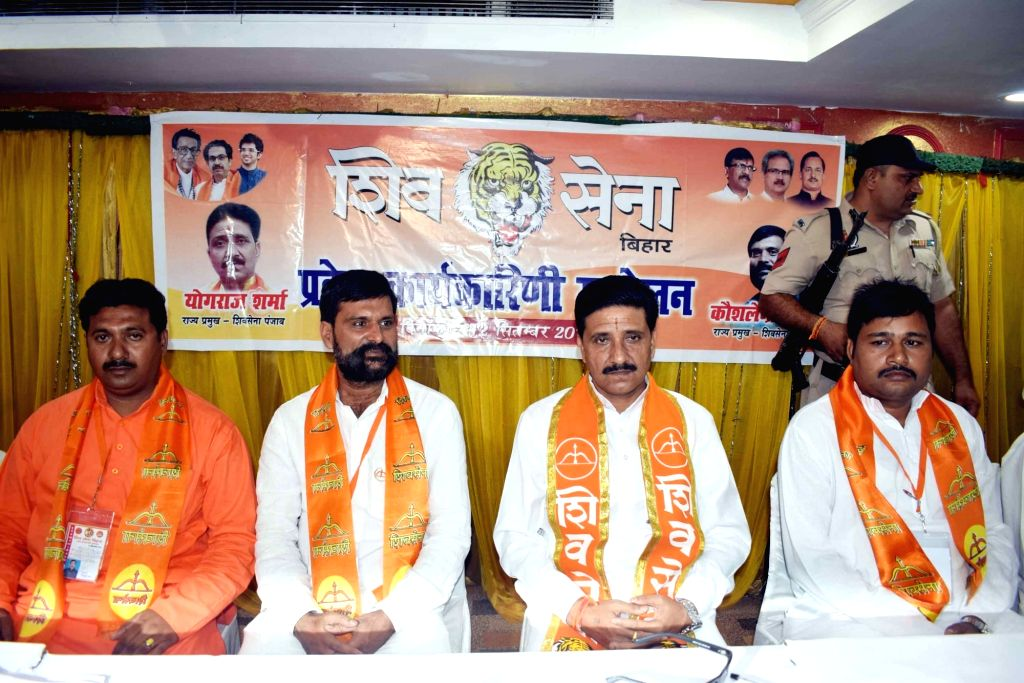 Shiv Sena leaders during a Working Committee Meeting in Patna on Sept 12, 2017.