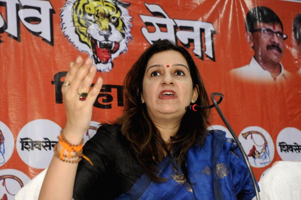 Shiv Sena MP Priyanka Chaturvedi addresses a press conference on the eve of Bihar Assembly elections, in Patna on Oct 27, 2020.