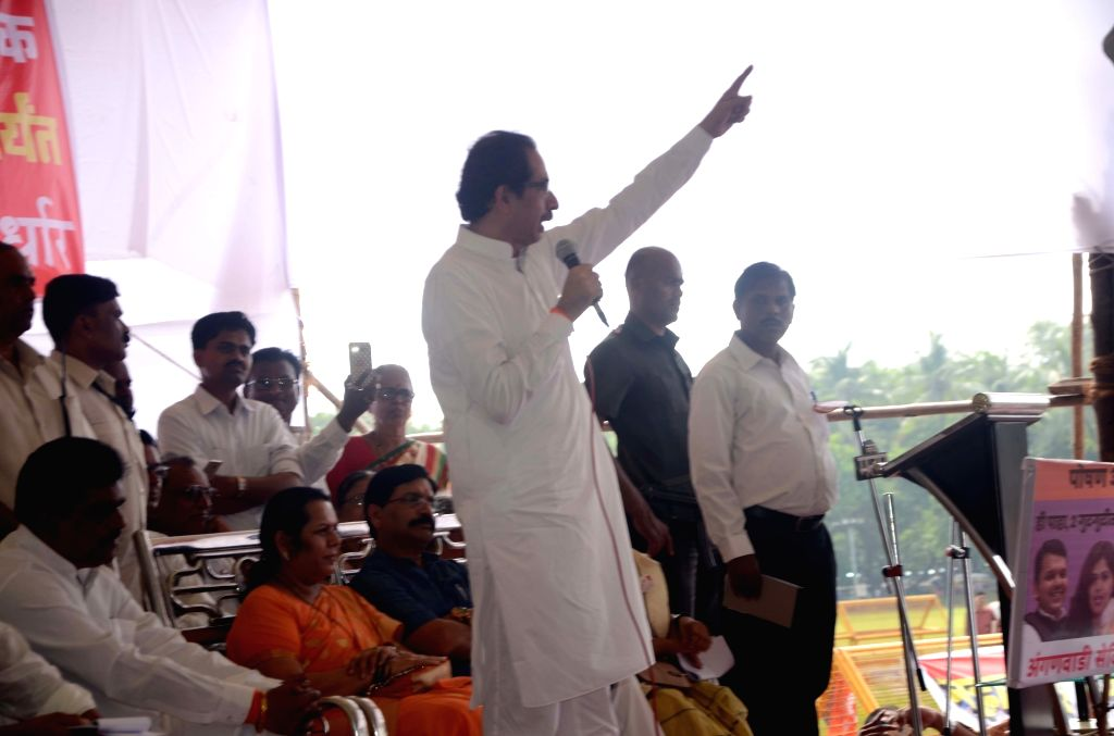 Shiv Sena president Uddhav Thackeray addresses during a protest rally called by the anganwadi workers' union to press for their demands at Azad Maidan in Mumbai on Sept 27, 2017.