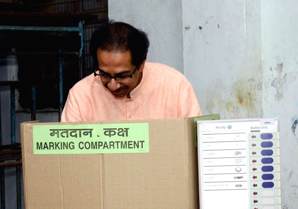 Shiv Sena President Uddhav Thackeray casts his vote at a polling booth during the sixth phase of 2014 Lok Sabha Polls in Mumbai on April 24, 2014.