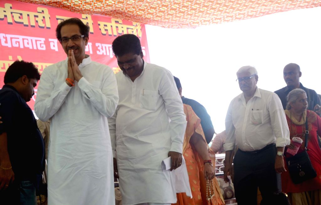 Shiv Sena president Uddhav Thackeray during a protest rally called by the Anganwadi workers' union to press for their demands at Azad Maidan in Mumbai on Sept 27, 2017.