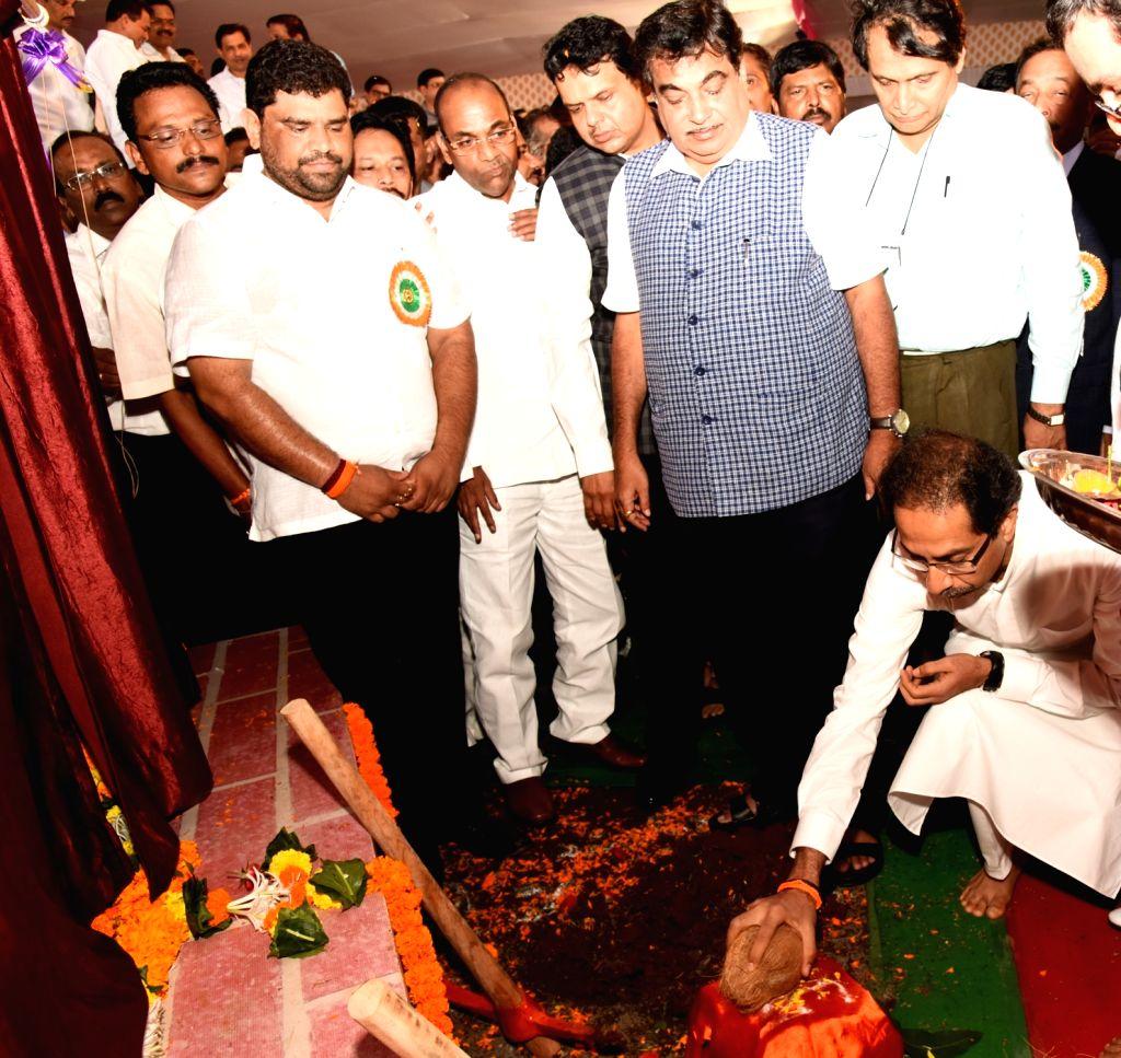 Shiv Sena president Uddhav Thackeray during the inauguration of Mumbai Goa four way highway in Kudal, Sindhudurg district, Maharashtra, on June 23, 2017. Also seen Union Ministers Nitin ... - Maharashtra Chief Minister Devendra Fadnavis, Nitin Gadkari and Suresh Prabhu