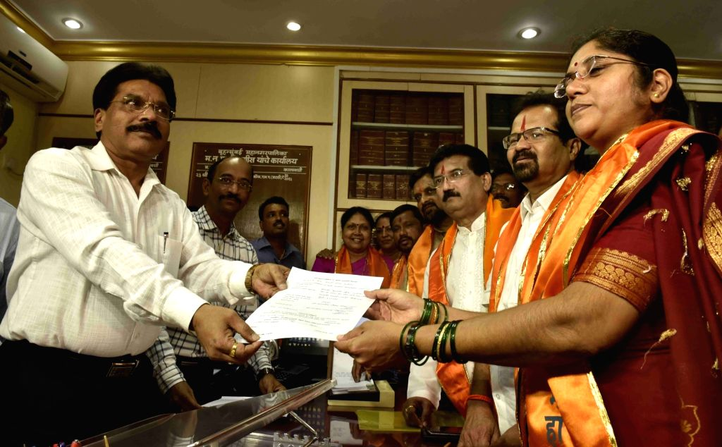 Shiv Sena's Vishwanath Mahadeshwar and Hemangi Worlikar filed their nominations for the mayor's and deputy mayor's elections respectively at BMC Head quarter, in Mumbai, on March 4, 2017.