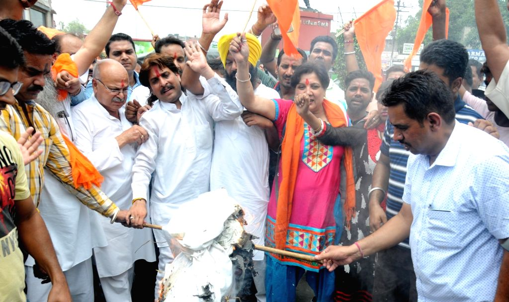 Shiv Sena workers stage a demonstration against suspension of Amaranth Yatra in Srinagar on July 10, 2016.