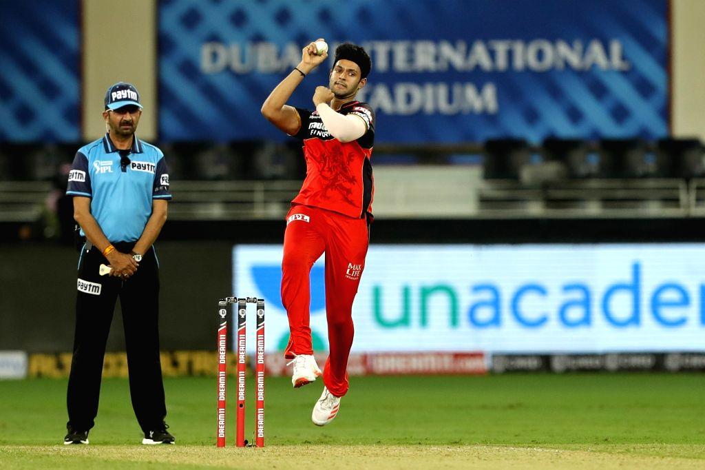 Shivam Dube of Royal Challengers Bangalore bowling during match 6 of season 13, Dream 11 Indian Premier League (IPL) between Kings XI Punjab and Royal Challengers Bangalore held at the Dubai ...