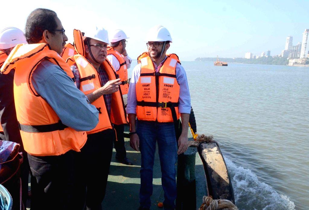 Shivsena Chief Uddhav Thackeray conducts a survey of the 30 km long Coastal Road project in Mumbai on Nov 26, 2015.