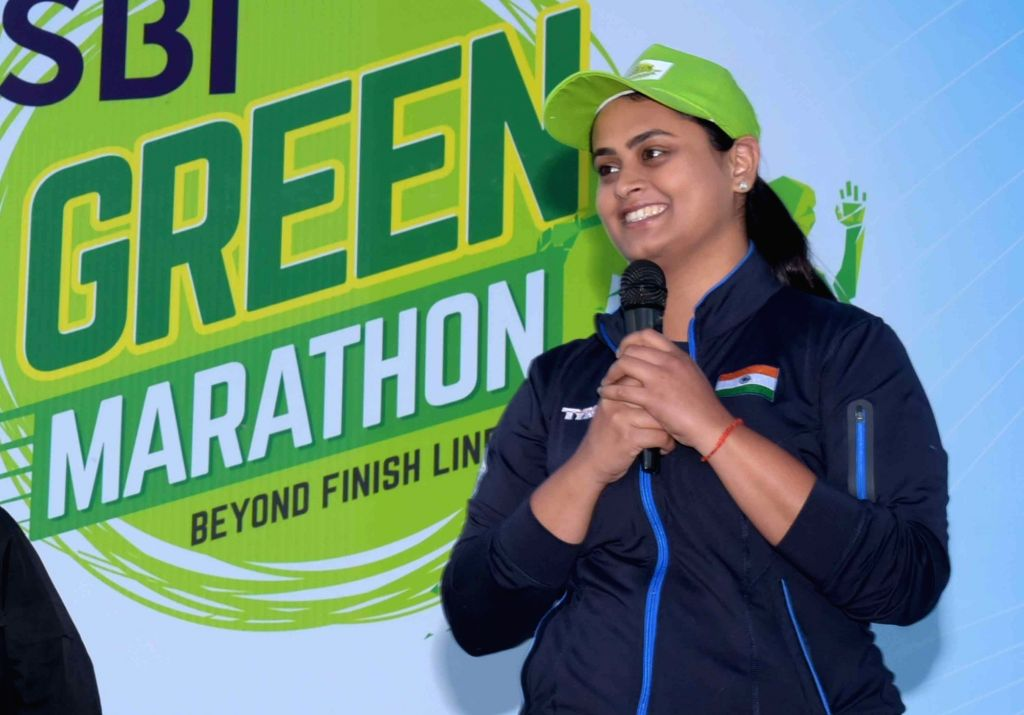 Shooter Shreyasi Singh during 'Green Marathon' organised to spread awareness about environment conservation, in Patna on March 10, 2019. - Shreyasi Singh