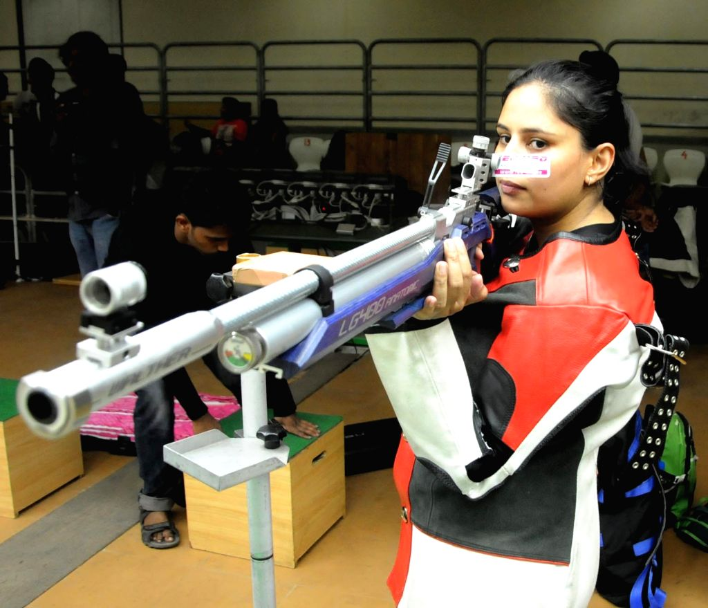 Shooter Tara Shahdeo aims at her target during the 8th Jharkhand State Rifle Shooting Championship-2017 organised by Jharkhand State Rifle Association at Hotwar in Ranchi on Aug 18, 2017.