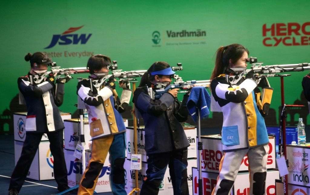 Shooters participate in women's 10 metre Air Rifle category of ISSF World Cup in New Delhi on Feb 23, 2019.