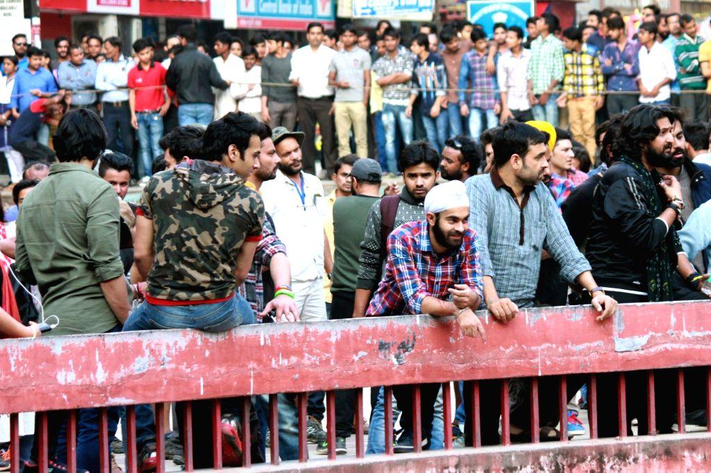 "Shooting of film ""Fukrey 2"" at Nehru Place in New Delhi on Nov 28, 2016."