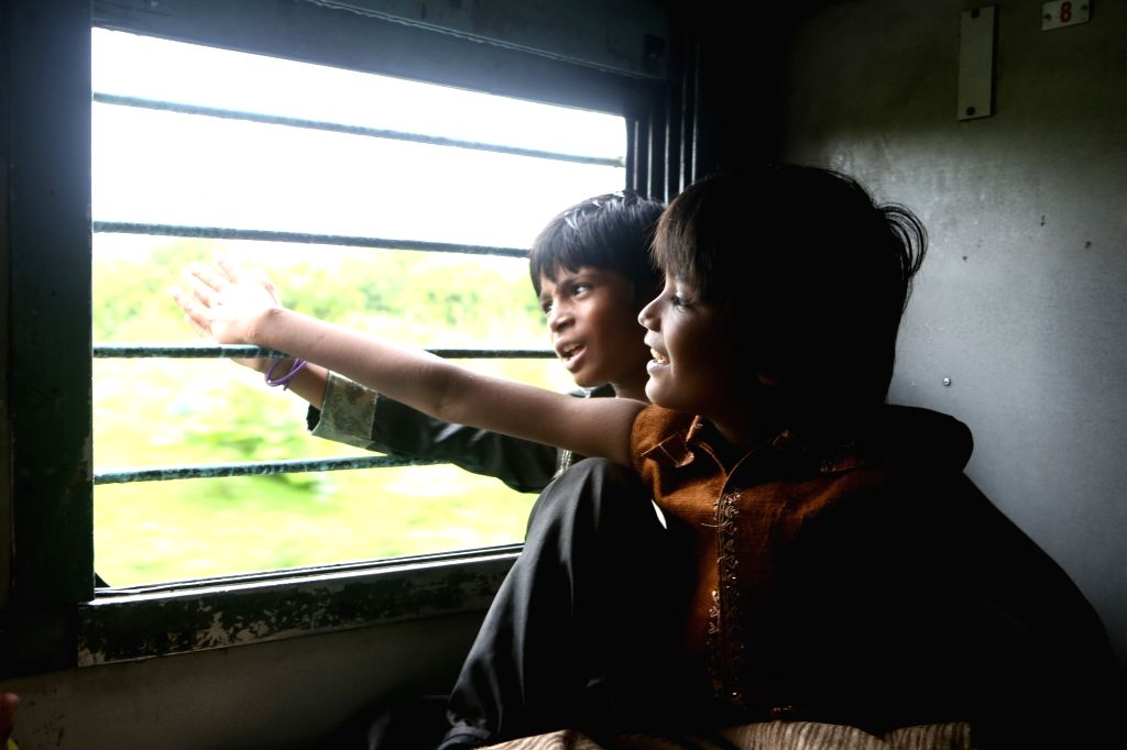 """Shooting of """"Mere Pyaare Prime Minister"""" underway in a train compartment on June 30, 2017."""