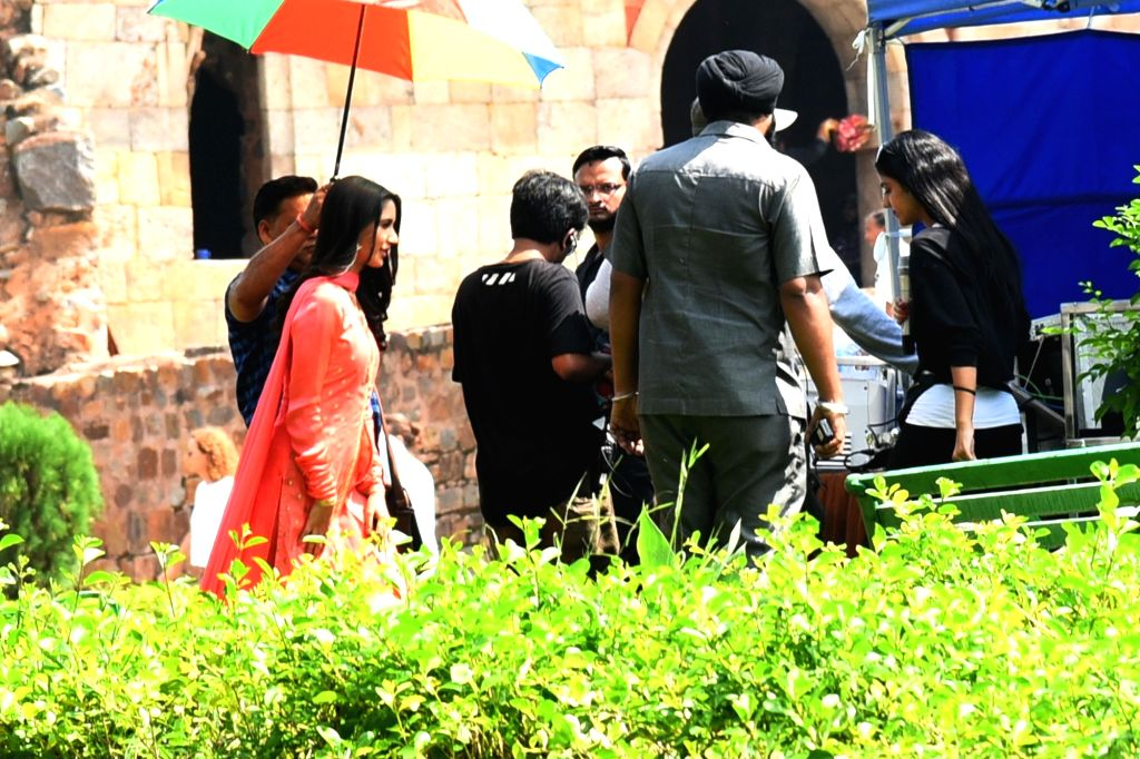 """Shooting of upcoming film """"The Big Bull"""" underway at Lodhi Garden in New Delhi on Oct 7, 2019."""