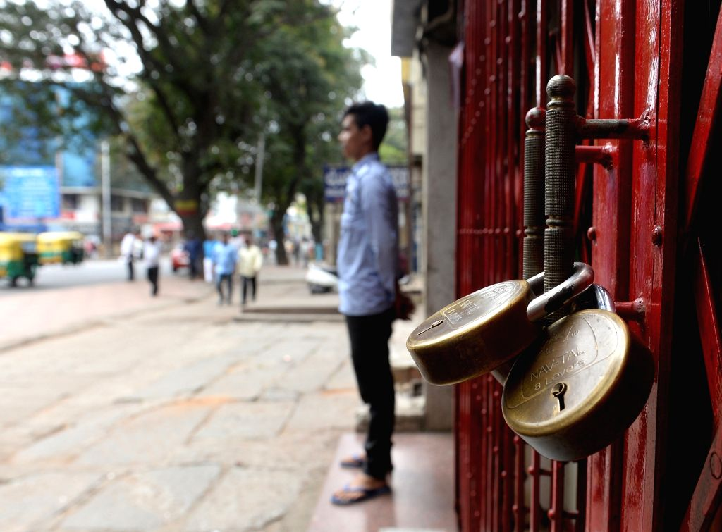 Shop remains closed during a day-long Bharat Bandh or nationwide shutdown called by the Congress and Left parties to protest against rising fuel prices, in Bengaluru, on Sept 10, 2018.