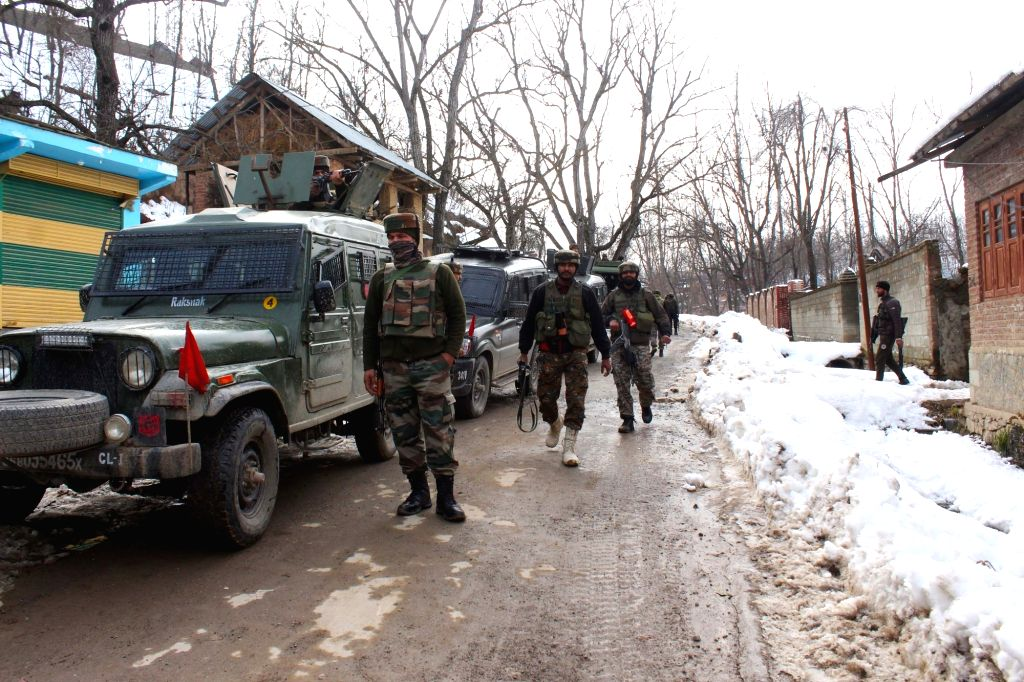Shopian: Security forces carry out cordon and search operations after three terrorists of the proscribed terrorist outfit Hizbul Mujahideen were gunned down in an encounter in Kashmir's Shopian district on Jan 20, 2020. (Photo: IANS)