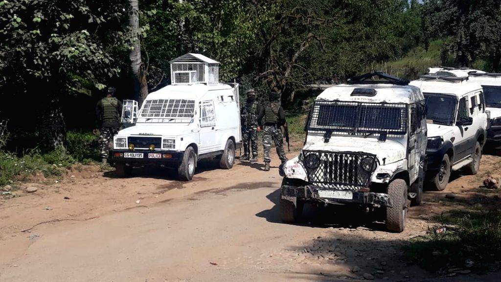 Shopian: Security personnel conduct search operations after one militant was killed in a gunfight with the security forces in Jammu and Kashmir's Shopian district, on July 5, 2019. The gunfight took place in the orchards of Narwani village of Imamsah