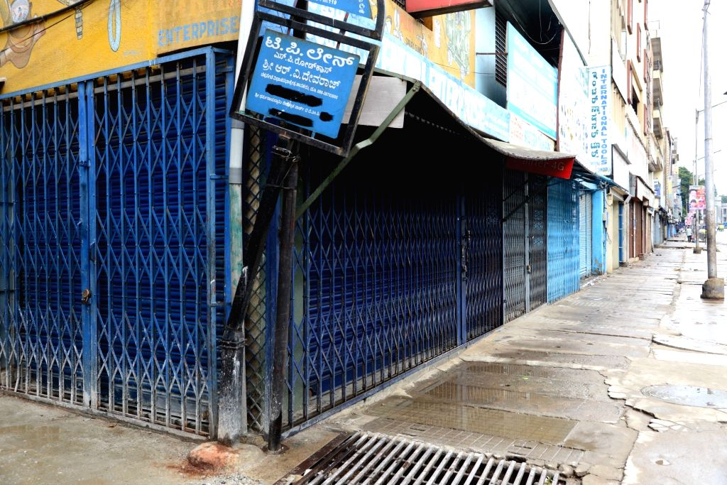 Shops being closed during the Pro-Kannada organisations and Farmers Associations called for a Karnataka bandh condemning the Mahadayi Water dispute tribunal order in Bengaluru on July 30, ...