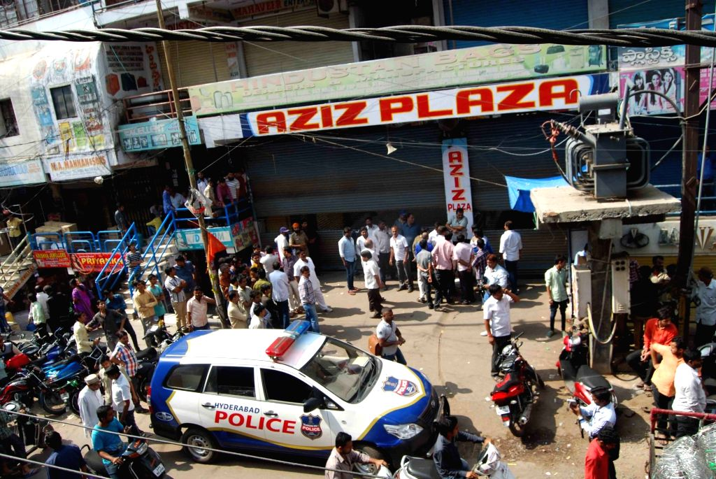 Shops closed in Begum Bazaar of Hyderabad after a bomb scare  on Nov 24, 2015.
