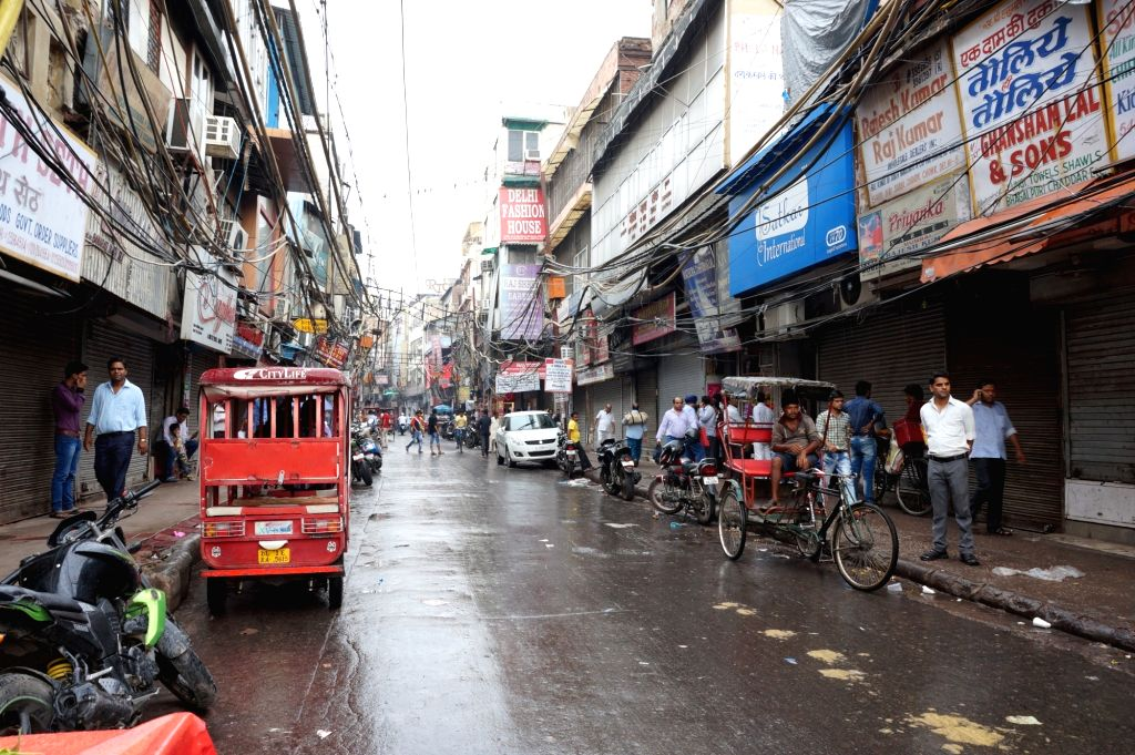 Shops in parts of Chandni Chowk remain closed to protest against GST in New Delhi, on June 30, 2017.