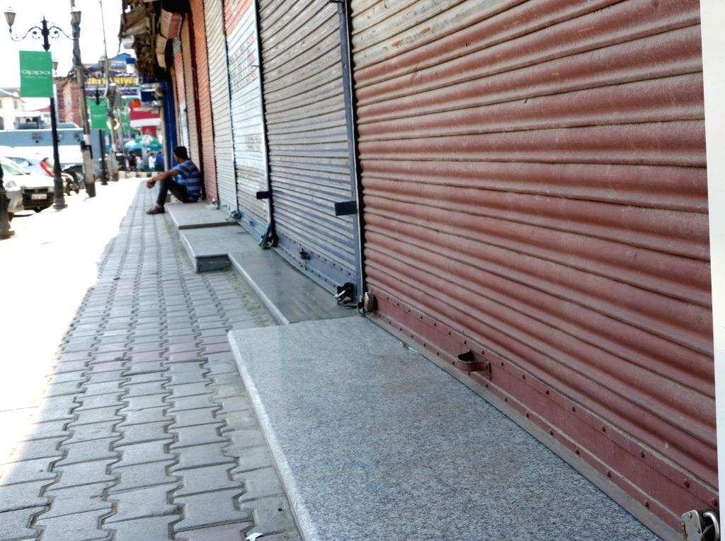 Shops in Srinagar remain closed as traders and civil society members call for an anti-GST shutdown on July 5, 2017.