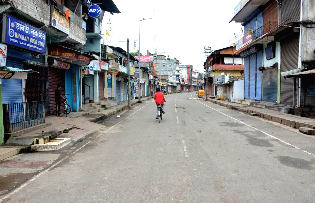 Shops keep their shutters down in Golaghat town of Assam during Assam bandh called by several organisations against police atrocities on Aug 21, 2014.