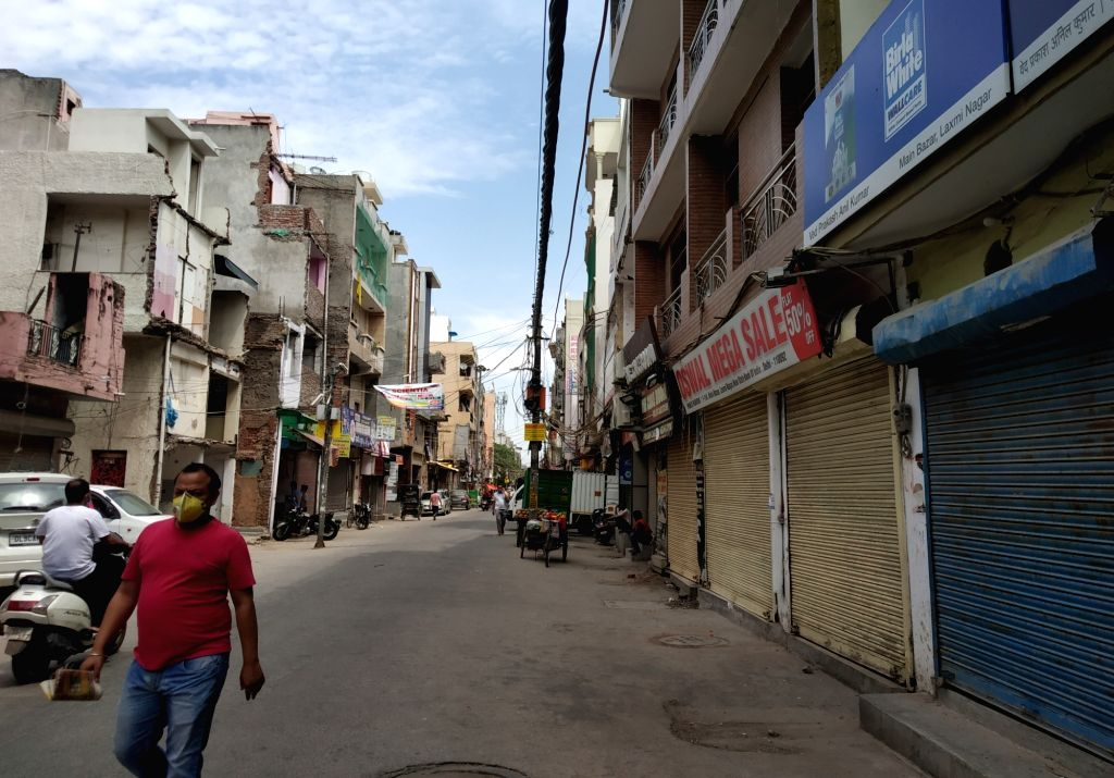 Shops remain closed at a market in New Delhi during the extended nationwide lockdown imposed to mitigate the spread of coronavirus; in New Delhi on April 25, 2020.