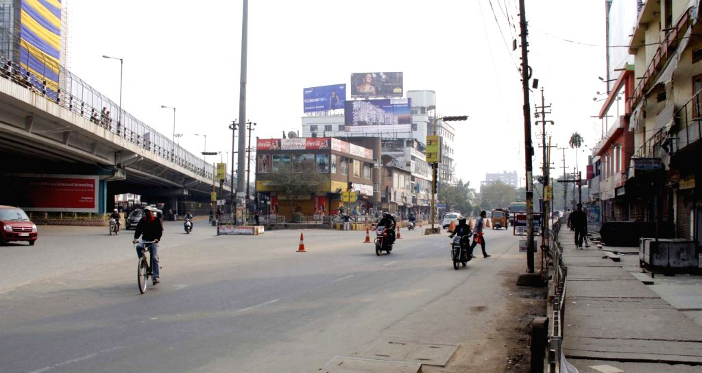 Shops remain closed during a 12-hour bandh called by BJP to protest against the tabling of Constitutional Amendment Bill in Rajya Sabha, in Guwahati on Dec.20, 2013.
