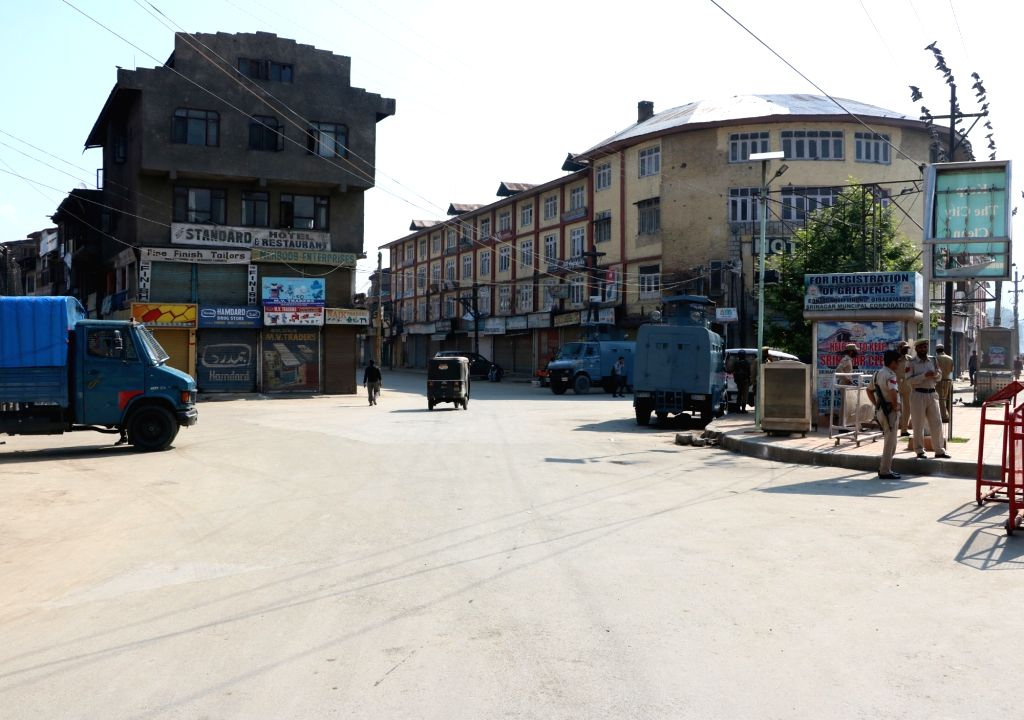 Shops remain closed during a strike called by separatists against  proposed Sainik and Pandit colonies in Srinagar, on May 26, 2016.