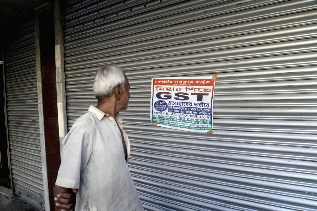 Shops remain closed during a strike called by sweetmeat sellers to protest against GST on sweets in Kolkata on Aug 21, 2017.