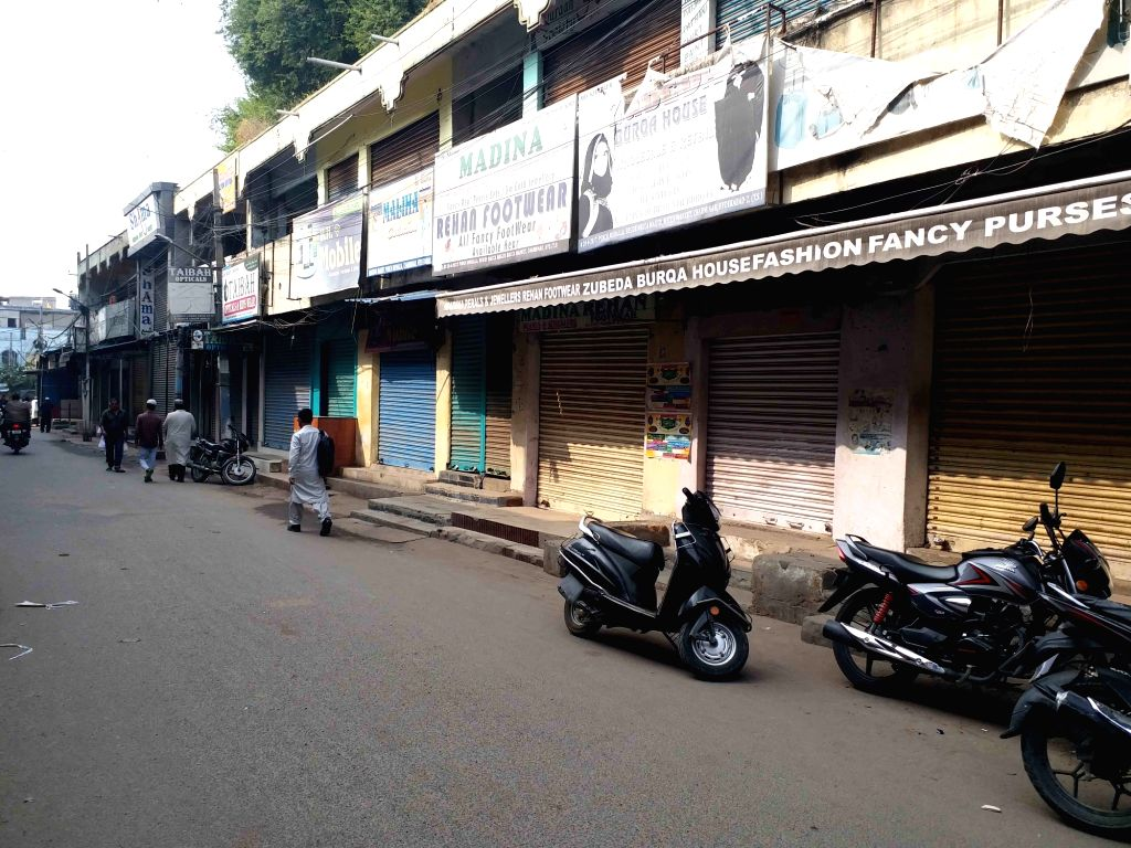 Shops remain closed during a voluntary bandh called by several Muslim organisations as they observes Black Day on Babri Masjid demolition anniversary, in Hyderabad on Dec 6, 2019.