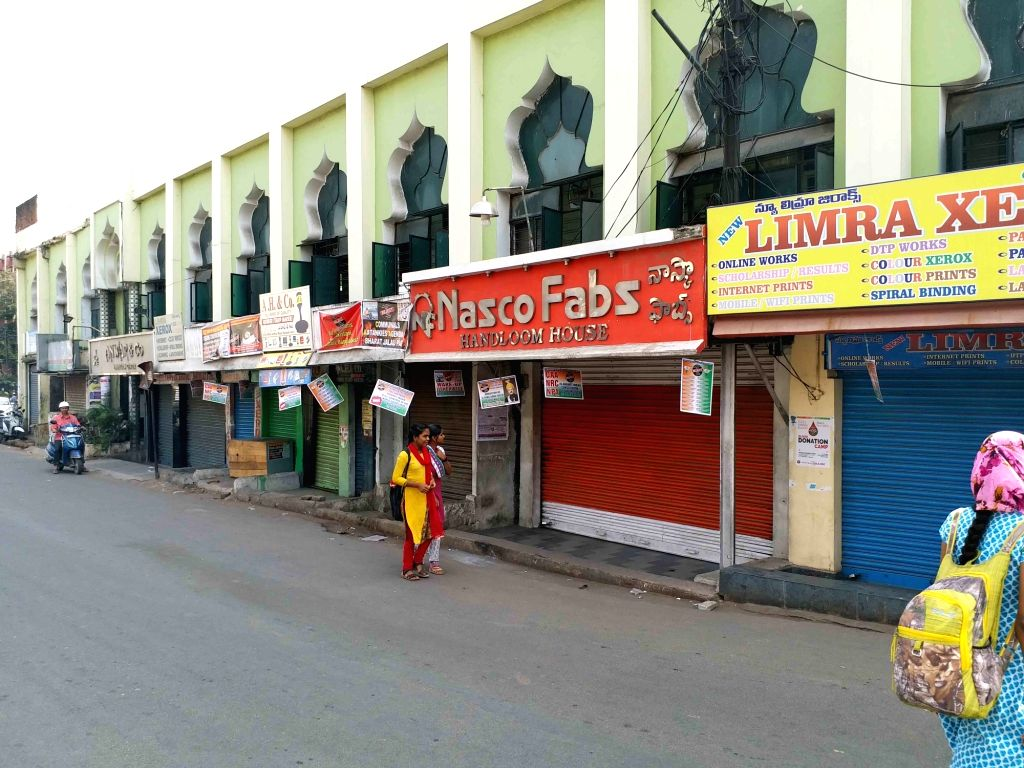 Shops remain closed during the day-long 'Bharat Bandh' called by the Bahujan Kranti Morcha (BKM) against the Citizenship Amendment Act (CAA) 2019, in Hyderabad on Jan 29, 2020.