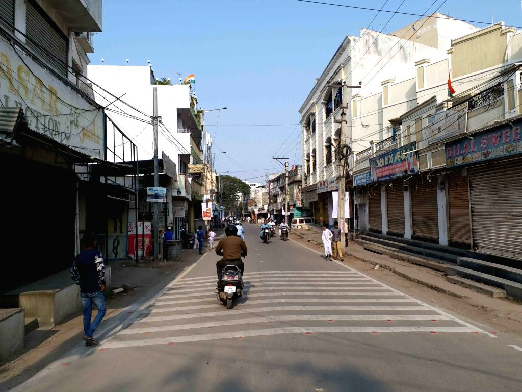 Shops remain closed for the 'Tiranga rally' to protest against the Citizenship Amendment Act, in Hyderabad on Jan 10, 2020.