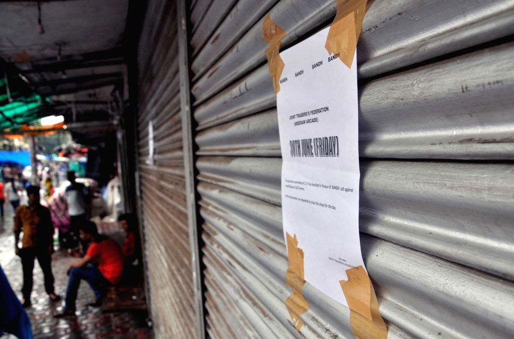 Shops remain closed in Bhopal to protest against GST on June 30, 2017.