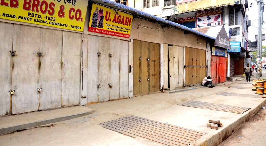 Shops remain closed in Guwahati to protest against 14 Feb Pulwama militant attack in which 49 CRPF men were killed; on Feb 18, 2019.
