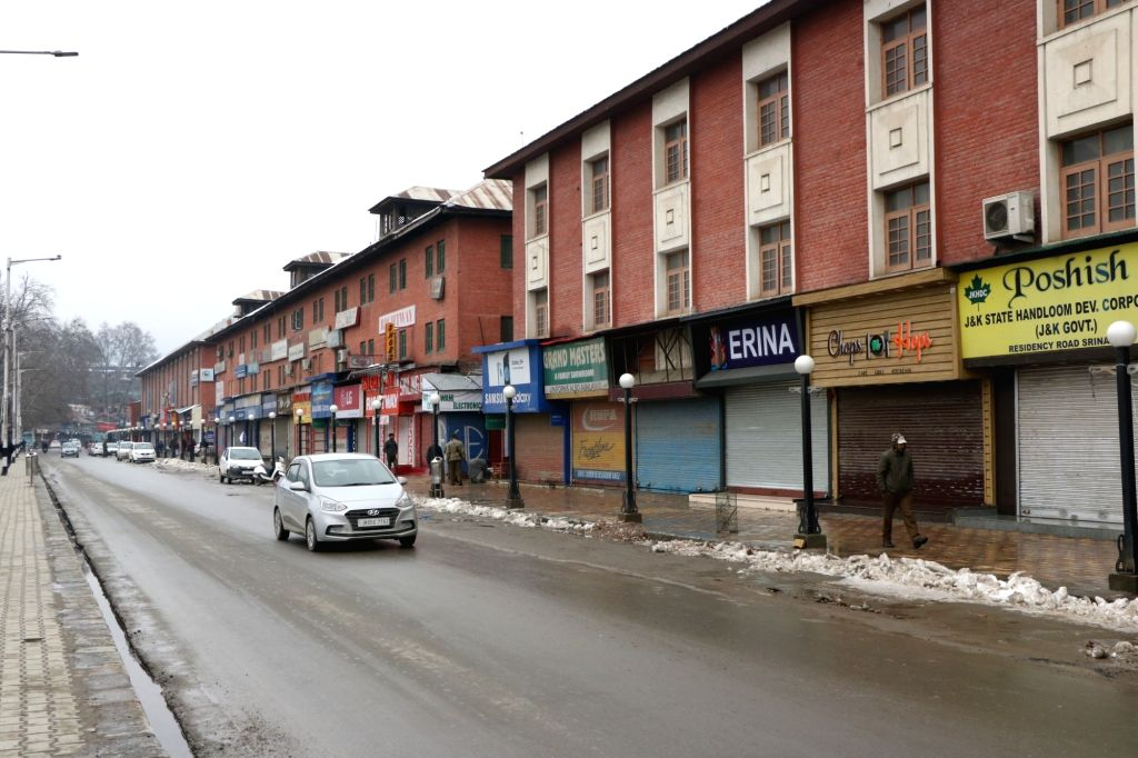 Shops remain closed in Srinagar during a shutdown called by separatists in support of Article 35-A of the Constitution on Feb 13, 2019.