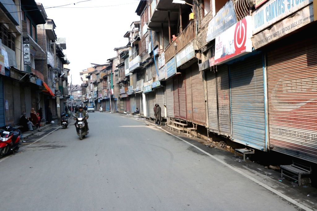 Shops remain closed in Srinagar to protest against attacks on Kashmiris in Jammu on Feb 16, 2019.