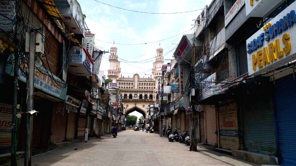Shops remain closed in the markets adjoining Hyderabad's Charminar in the wake of increasing number of COVID-19 cases, in Hyderabad on July 3, 2020.