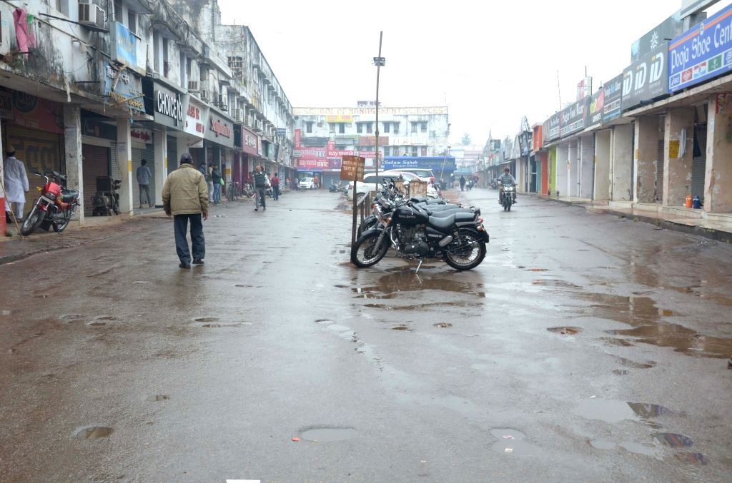 Shops remain closed in Varanasi to protest against suicide attack on a CRPF bus in Jammu and Kashmir's Pulwama district in which atleast 45 soldiers lost their lives; on Feb 15, 2019.