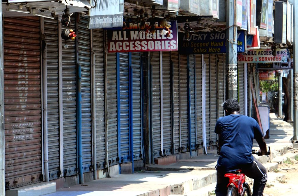 Shops remain shut during a DMK-led shutdown strike over the Centre's failure to set up a Cauvery Management Board (CMB), in Chennai on April 5, 2018.