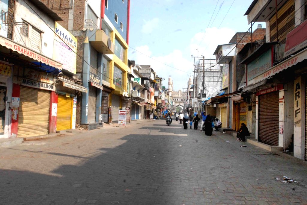 Shops remain shut to commemorate the 26th anniversary of Babri Masjid demolition in Hyderabad, on Dec 6, 2018.