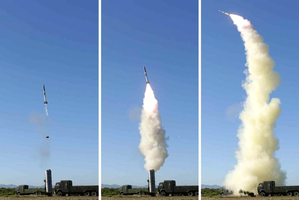 "Shown are photos of North Korea's test-firing of a new anti-aircraft guided weapon system. The Korean Central News Agency (KCNA) said North Korean leader Kim Jong-un watched ""the successful ..."