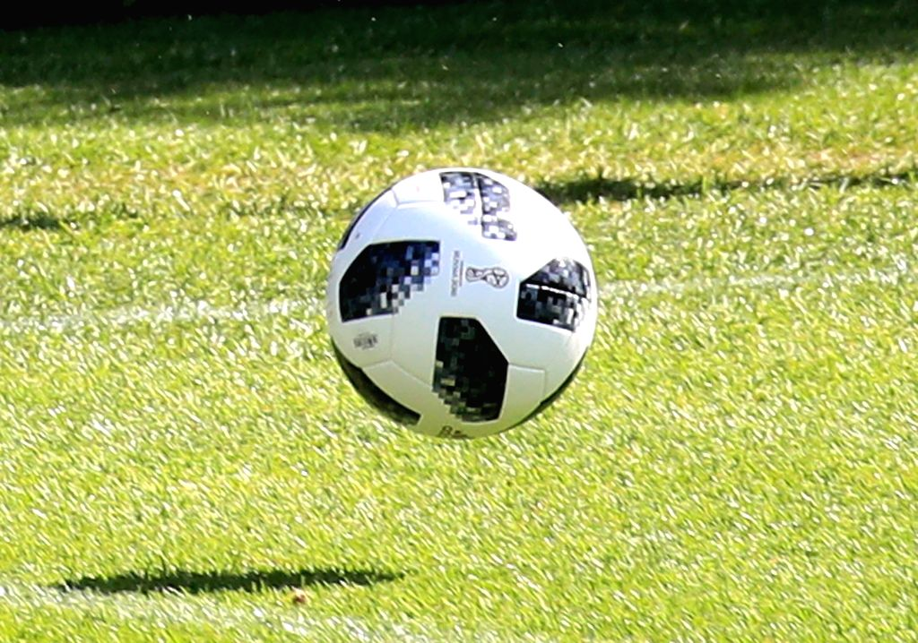 Shown is the Adidas Telstar 18, the official match ball of the 2018 FIFA World Cup in Russia, at the National Football Center in Paju, Gyeonggi Province, on May 23, 2018.