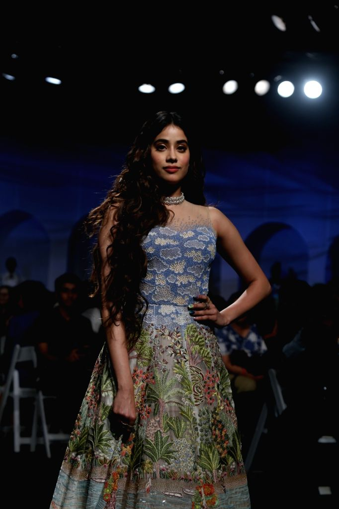 Showstopper Janhvi Kapoor showcases the creation of fashion designers Masaba Gupta and Kunal Rawal on Day 1 of the Lakme Fashion Week Summer/Resort 2020, in Mumbai on Feb 11, 2020. - Janhvi Kapoor and Masaba Gupta