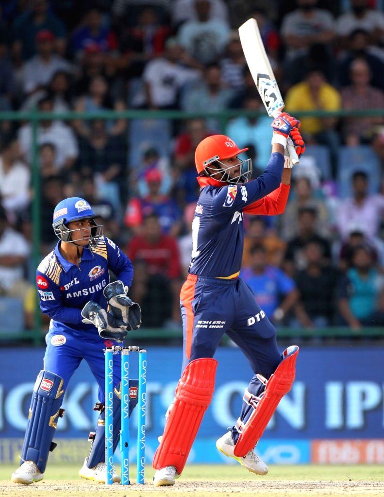 Shreyas Iyer of Delhi Daredevils in action during an IPL 2018 match between Delhi Daredevils and Mumbai Indians at Feroz Shah Kotla Stadium in New Delhi on May 20, 2018.