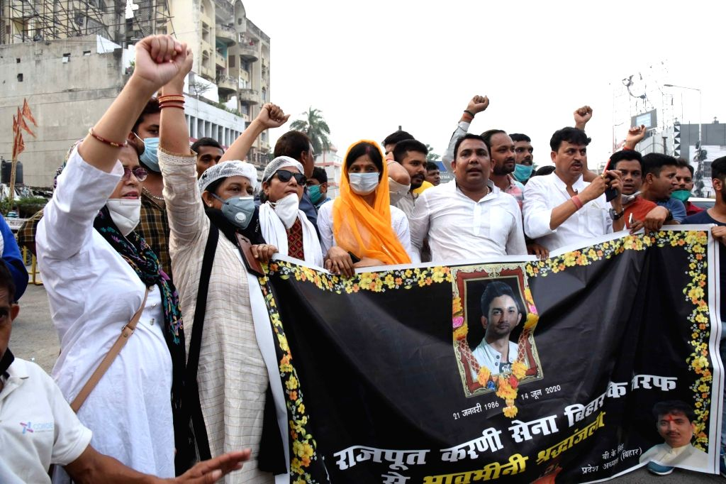 Shri Rajput Karni Sena activists take out a rally to pay their tributes to late actor Sushant Singh Rajput, in Patna on June 24, 2020. - Sushant Singh Rajput