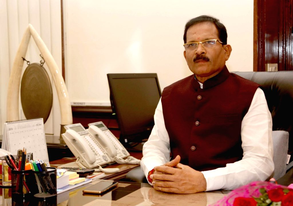 Shripad Yesso Naik takes charge as the Minister of State for Defence in New Delhi on May 31, 2019.