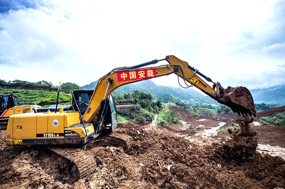 SHUICHENG, July 25, 2019 - Rescuers work at the landslide site in Shuicheng County of Liupanshui City, southwest China's Guizhou Province, July 25, 2019. The death toll has risen to 15 after a ...