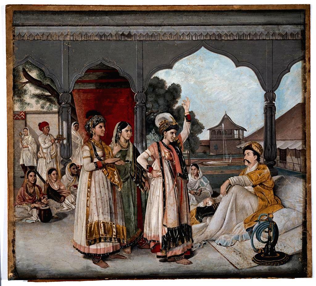 Shuja'al Duala, nabab-vizir de la province d'Aoudh, vice-roi de l'empire moghol et son fils a??n?? Mirza Man.